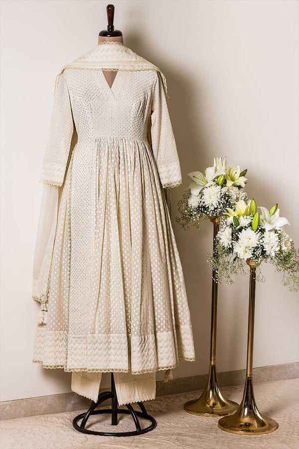 Off-white Handloom Chanderi Anarkali Kurta with Pant and Dupatta - Monsoon.thedesignerstore