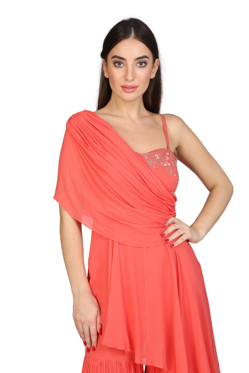One shoulder draped tiered sharara jumpsuit - Monsoon.thedesignerstore