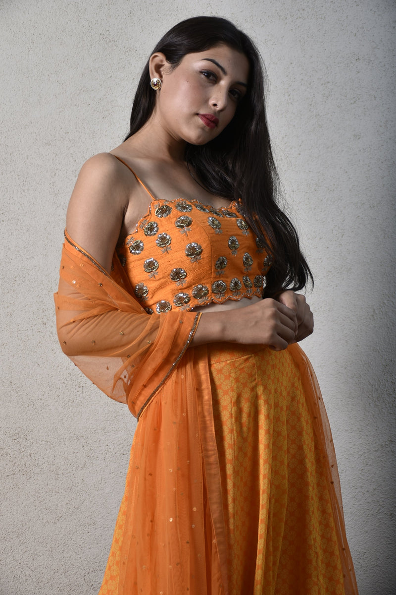 Orange strappy embroidered blouse, geomtric floral printed skirt & dupatta - Monsoon.thedesignerstore