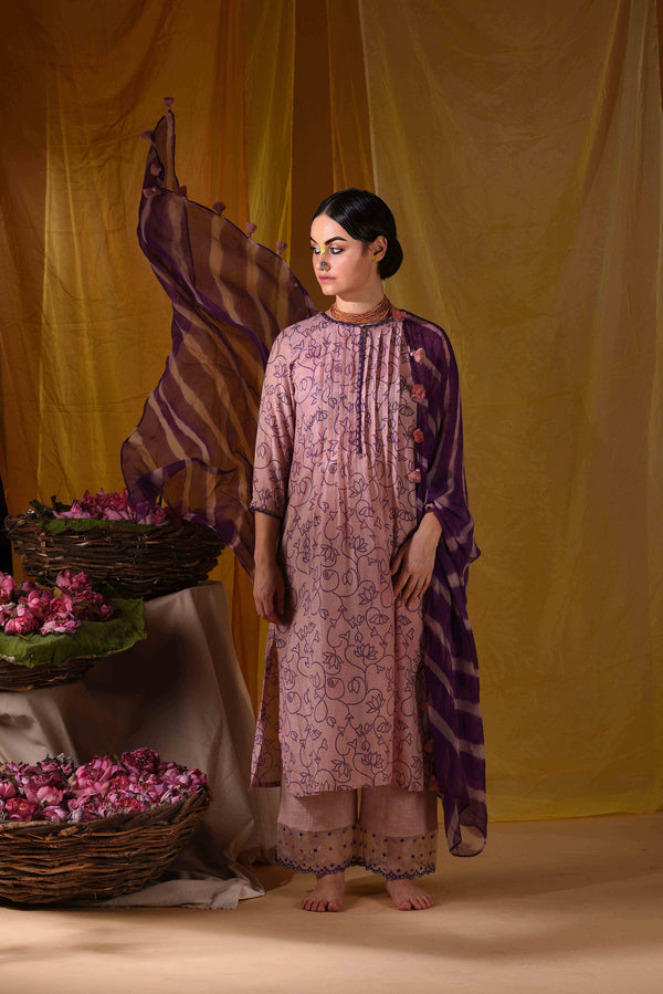 Pichwai printed kurta with pants and duppata - Monsoon.thedesignerstore