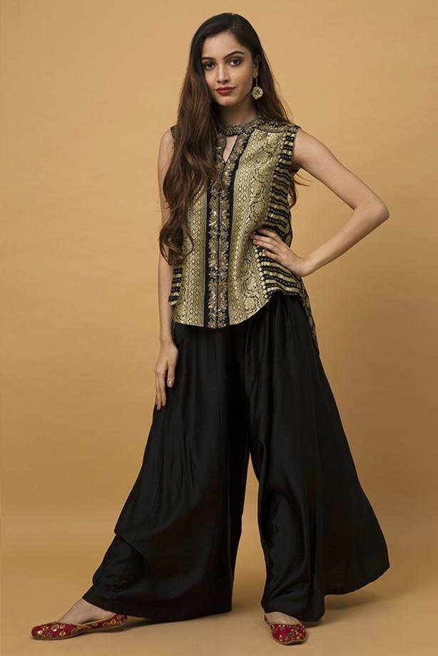 Sage High Low Top & Sharara Pants - Monsoon.thedesignerstore