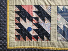 Load image into Gallery viewer, details show the hand quilting around each block and each border.