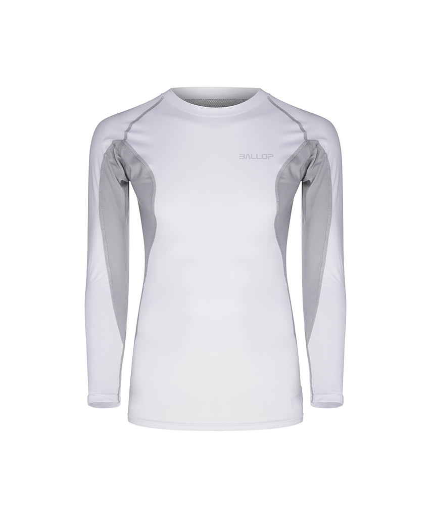 COMPRESSION ROUND LONG-SLEEVED, WHITE
