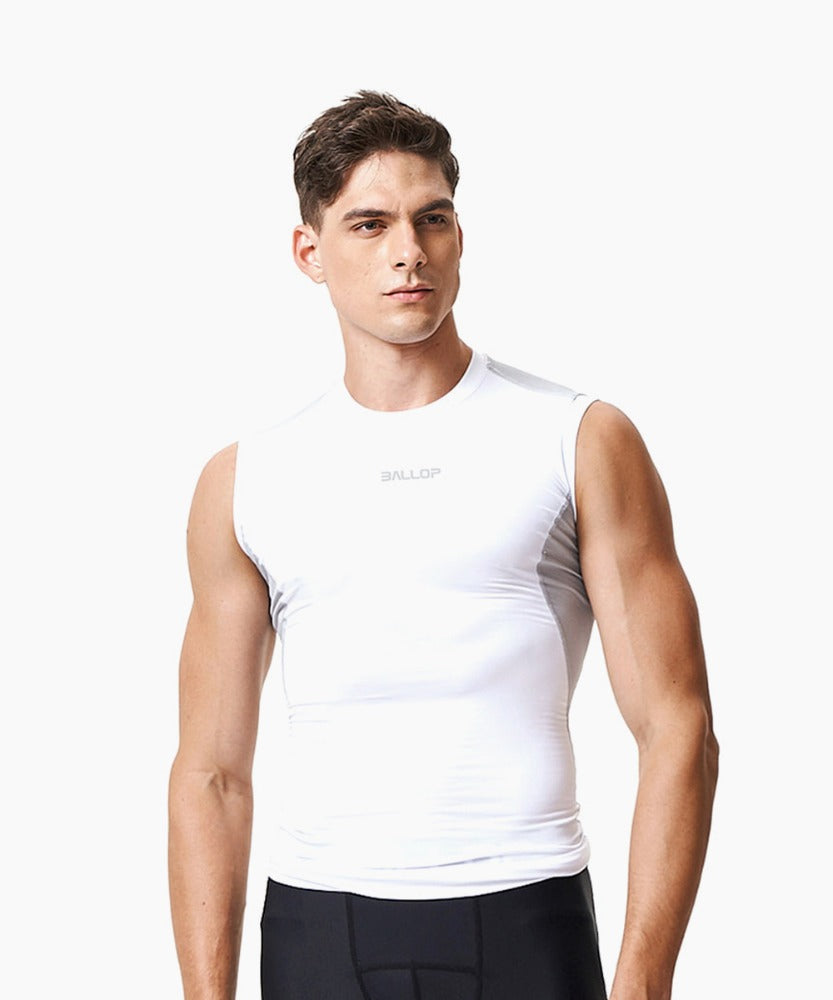 COMPRESSION SLEEVELESS, WHITE