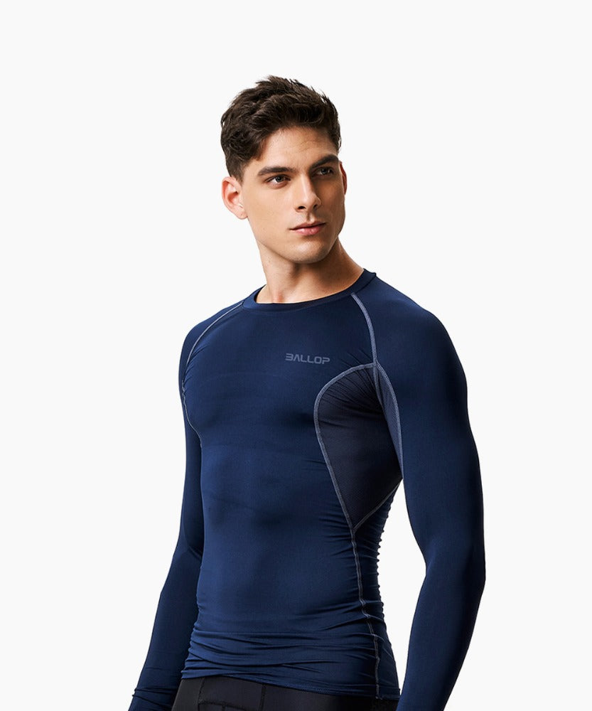 COMPRESSION ROUND LONG-SLEEVED, NAVY