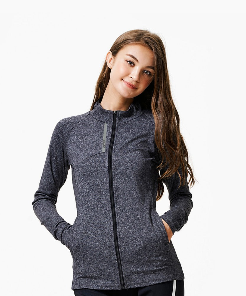 TRAINING EMILY ZIP UP, MELANGE GRAY
