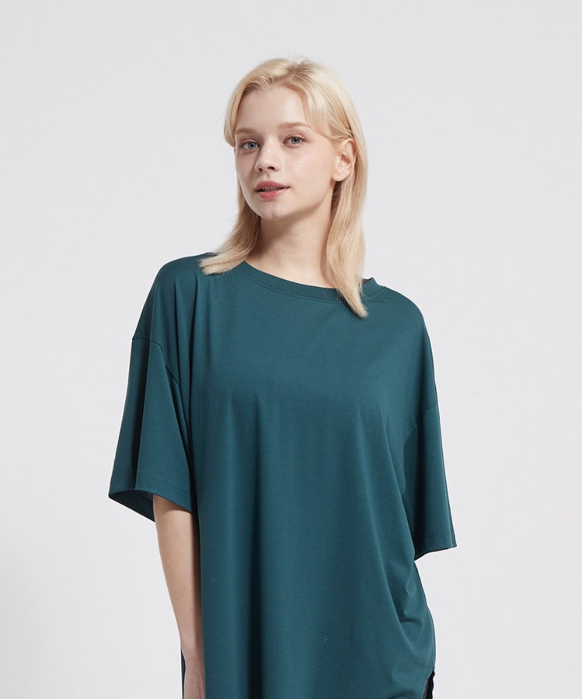 SIGNATURE YOGA OUTFITS COVER UP  LONG T-SHIRTS, PEACOCK GREEN