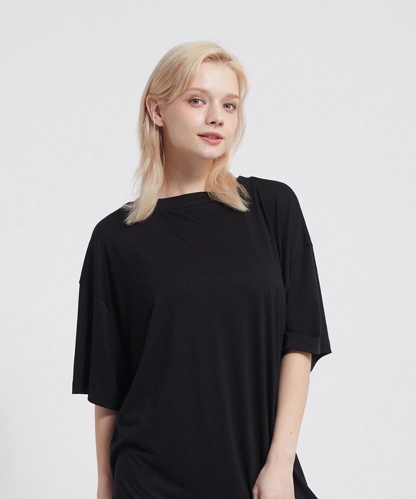 SIGNATURE YOGA OUTFITS COVER UP  LONG T-SHIRTS, BLACK