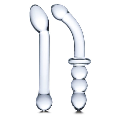 G-Spot Pleasure Glass Dildo and Butt Plug Set