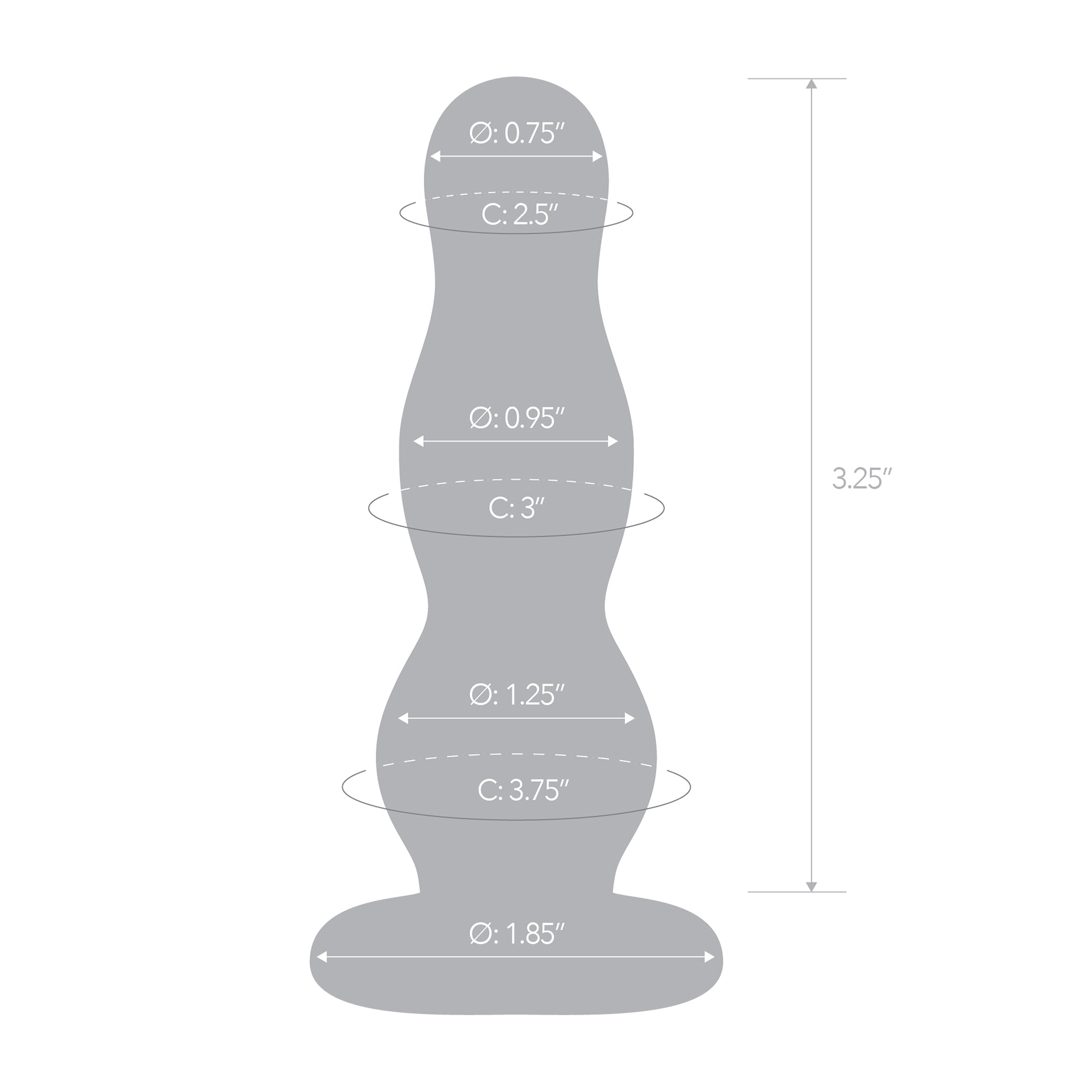 Specifications of the Gläs 4 inch Glass Butt Plug