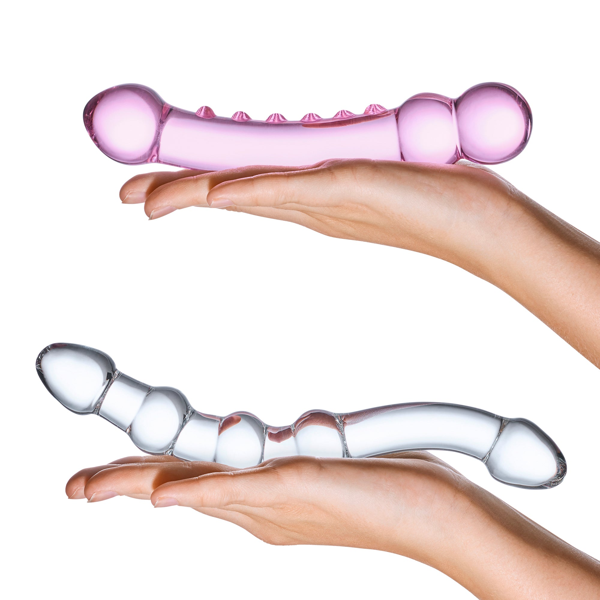 Gläs Double Pleasure Glass Dildo Set