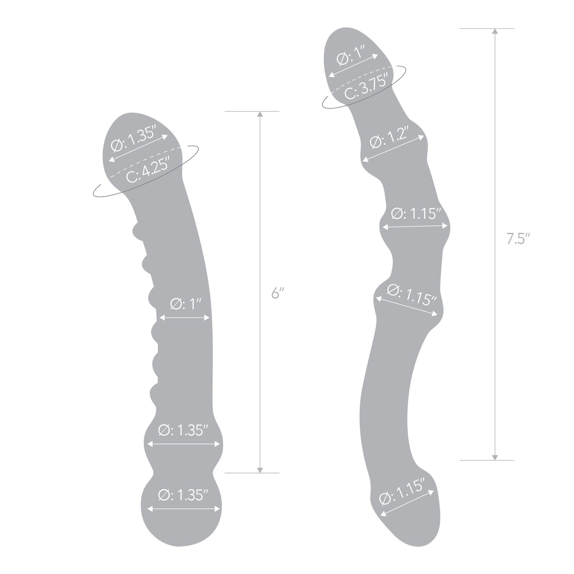 Specifications of the Gläs Double Pleasure Glass Dildo Set