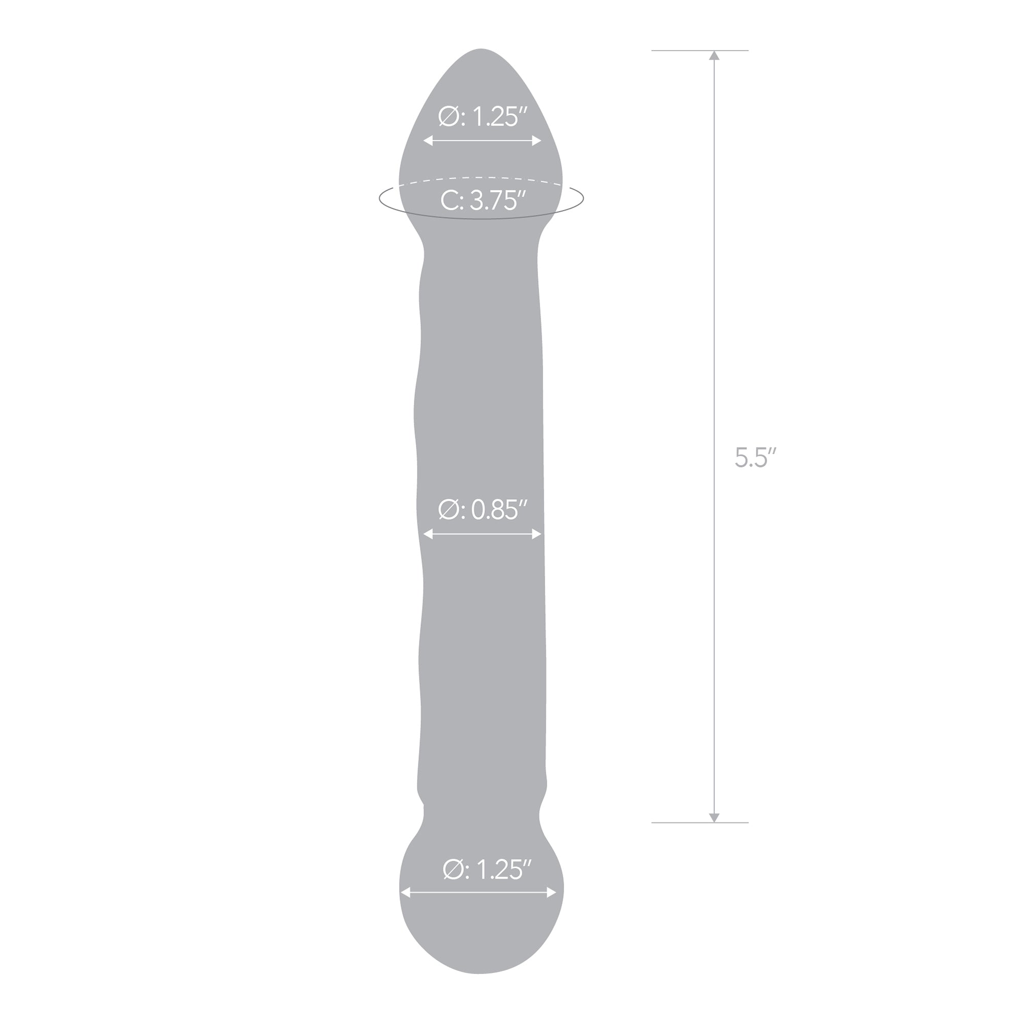 Specifications of the Gläs 6.5 inch Full Tip Textured Glass Dildo