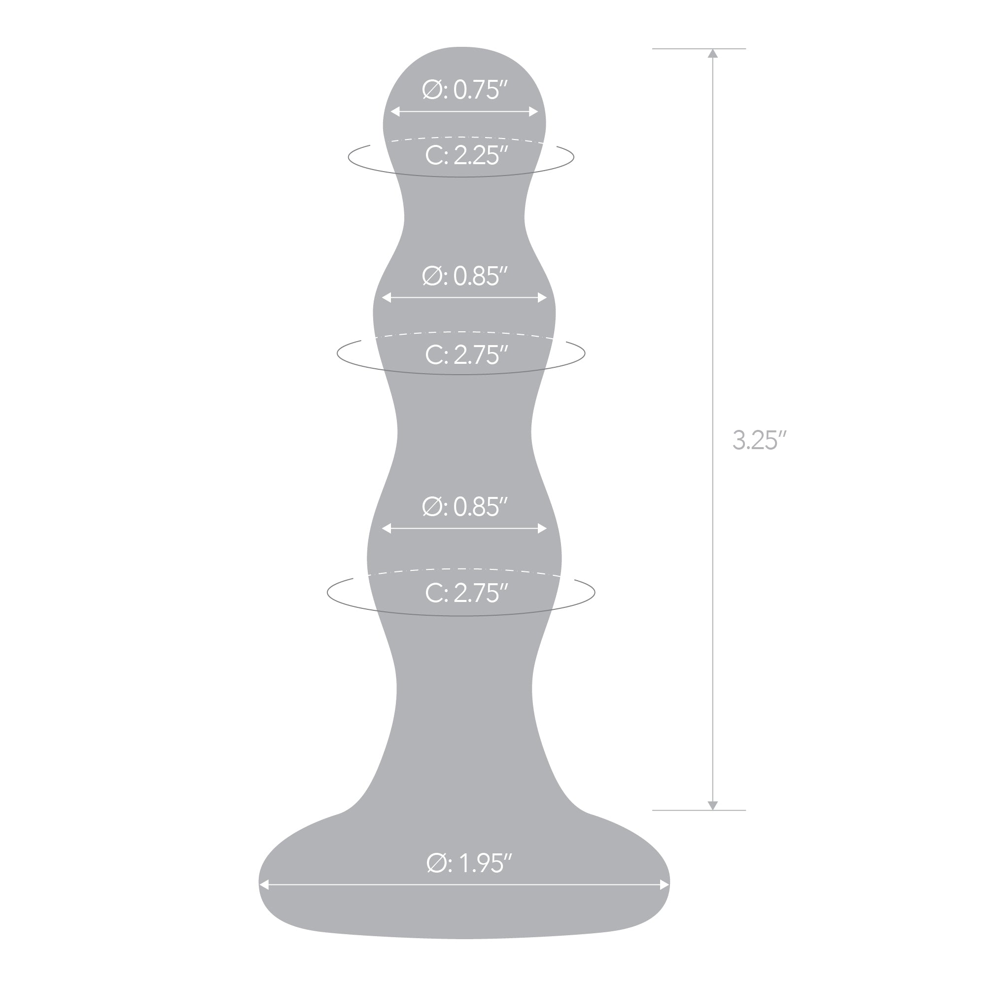 Specifications of the Gläs Triple Play Beaded Glass Butt Plug
