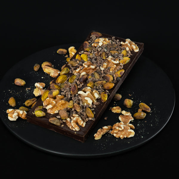 Dark Chocolate Bar of Pistachios and Mixed Premium Nuts