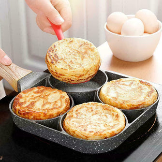 4 Hole Wooden Handle Egg Frying Pan