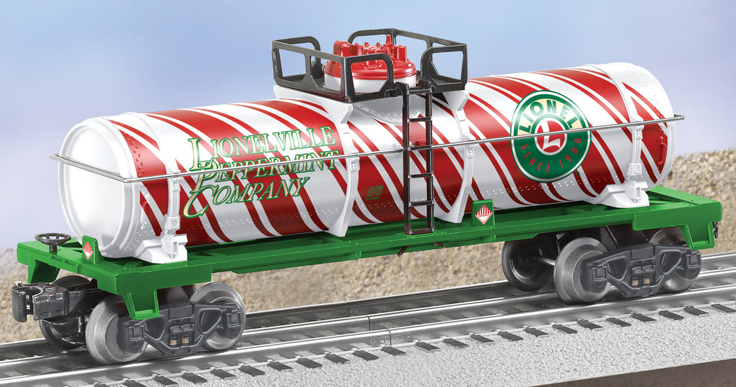 Lionel 6-26196 Candy Cane Single Dome Tank Car O Gauge Lionelville Christmas