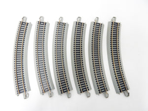 "Bachmann 44501 EZ-Track 6 pcs 18"" curved Nickel Silver gray roadbed HO C10 44580"