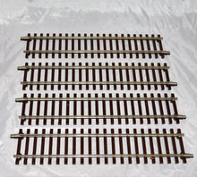 "Load image into Gallery viewer, Atlas O #7050 Lot of 4 Sections 10"" straight 2 Rail O Scale nickle silver Cde148"