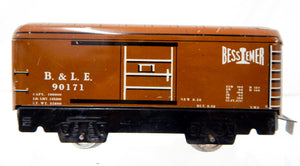 "Marx 6"" tinplate 1940 medium Brown Bessemer Lake Erie 90171 B&LE boxcar 555 tinplate"