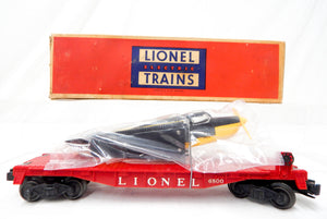 Lionel 6800 flatcar 1957 black yellow LIONEL NY repro airplane C8 BOXED