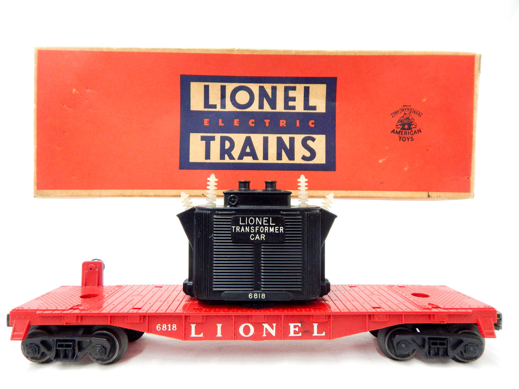Original Lionel Trains 6818 Transformer flat car vintage flat w/load power 58-59