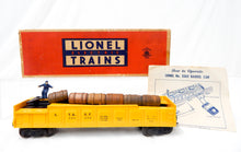 Load image into Gallery viewer, Lionel 3562-50 ATSF yellow operating barrel car w/box &instrctions Santa Fe 55-5