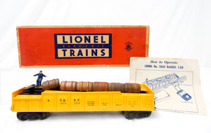 Lionel 3562-50 ATSF yellow operating barrel car w/box &instrctions Santa Fe 55-5