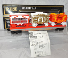 "Load image into Gallery viewer, K-Line Trains Circus 69002 Flatcar With Calliope Tableau & Animal Cage 12.5"" O"