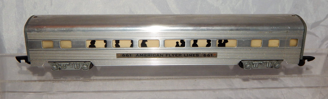 CLEAN American Flyer 661 Aluminum Coach Car Metal lighted 1950s Link streamlined