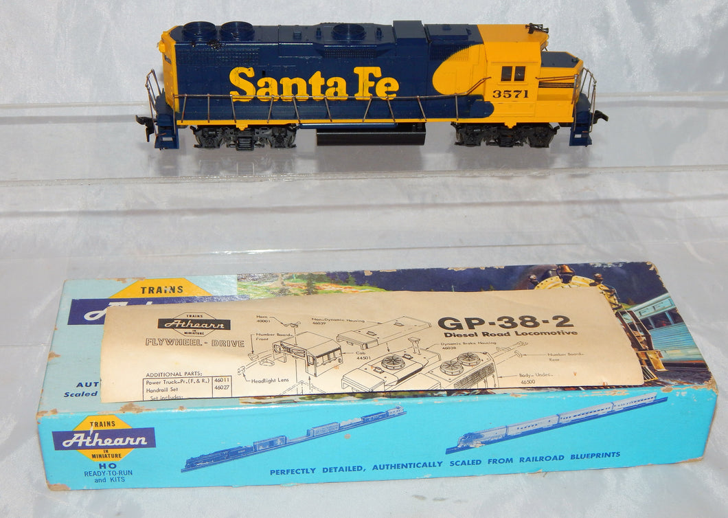 Athearn 4608 GP38-2 Powered diesel #3571 BLUE BOX locomotive HO scale Runs light