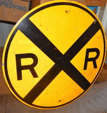 "Load image into Gallery viewer, REAL Railroad Crossing 36"" Round Yellow Metal Train Room Sign Man Cave Retired"