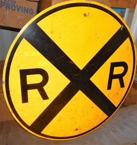 "REAL Railroad Crossing 36"" Round Yellow Metal Train Room Sign Man Cave Retired"