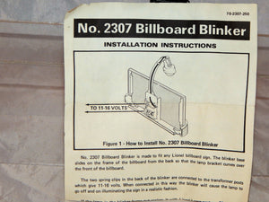 Lionel 230 Lighted Billboard BLINKER Accessory w/ instructions Metal 410 O/027