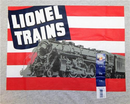 Lionel Trains T-Shirt 1940's US Flag & Steam Engine Catalog Cover Hudson Awesome