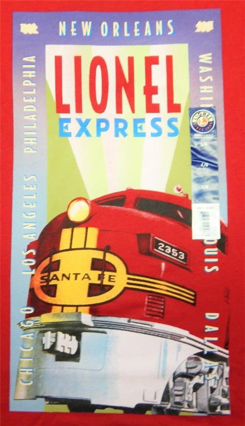 Lionel Trains Red T-Shirt L Santa Fe F3 2353 Diesel Engine ArtDeco Travel Poster