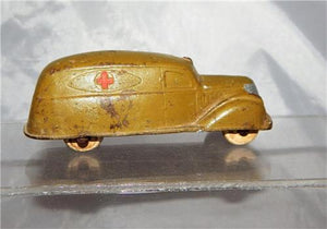 "Sun Rubber #525 Army Ambulance military WOOD wheels Made USA 3.5"" Vintage Toy"