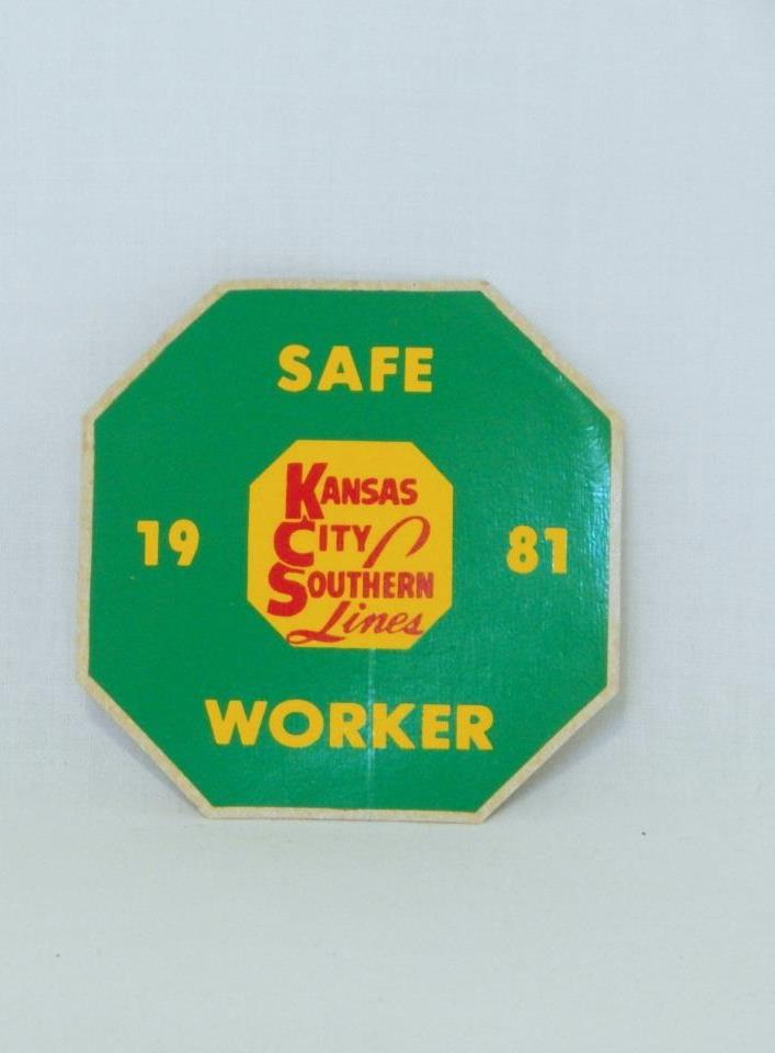 Kansas City Southern Lines KCS 1981 Safe Worker Sticker Safety Railroad Green