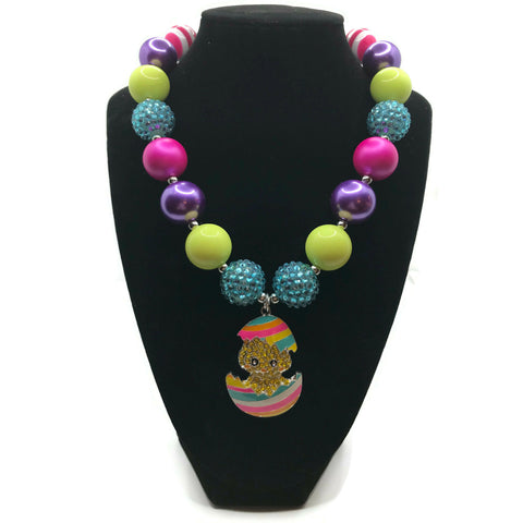 Easter Chick Egg Chunky Bubblegum Necklace