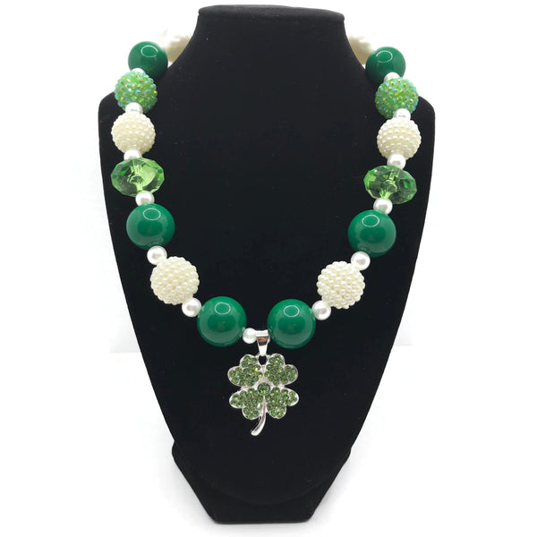 Four Leaf Clover Chunky Bubblegum Necklace
