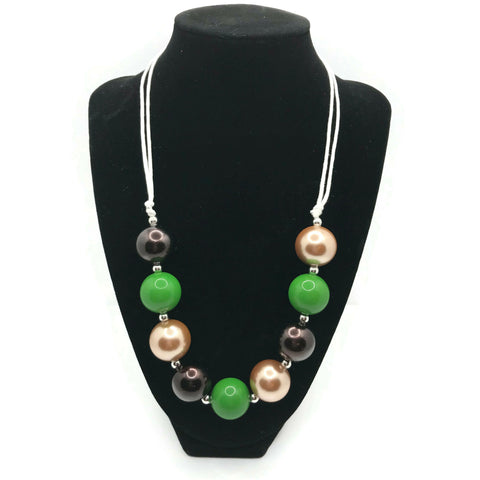 Green, Gold & Black Chunky Bubblegum Necklace with adjustable cord