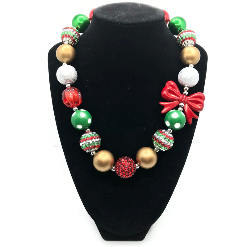 Red Bow Christmas Chunky Bubblegum Necklace