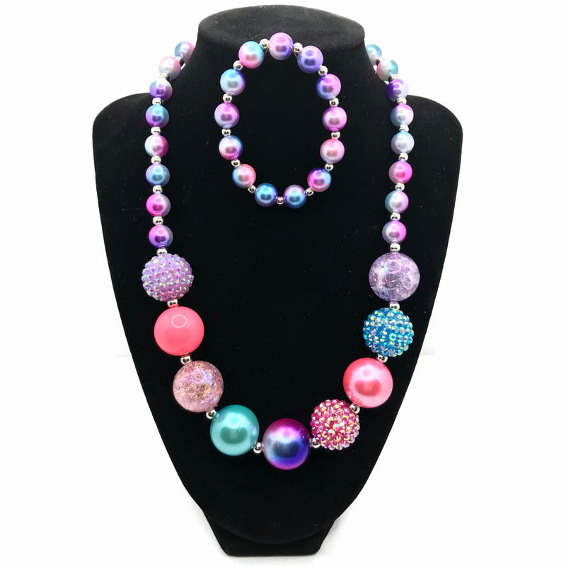 Multi-colored Galaxy Chunky Bubblegum Necklace with Bracelet Set