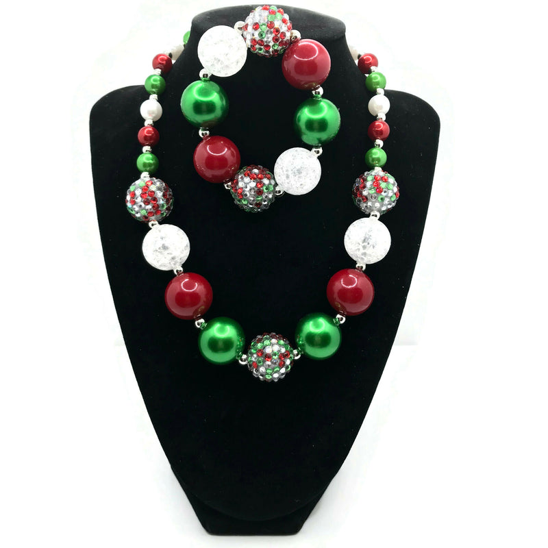 Christmas Themed Chunky Bubblegum Necklace with Bracelet Set