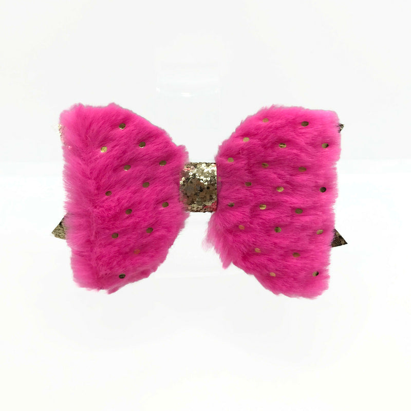 Pink & Gold Sparkle Fuzzy Hair Clip Bow