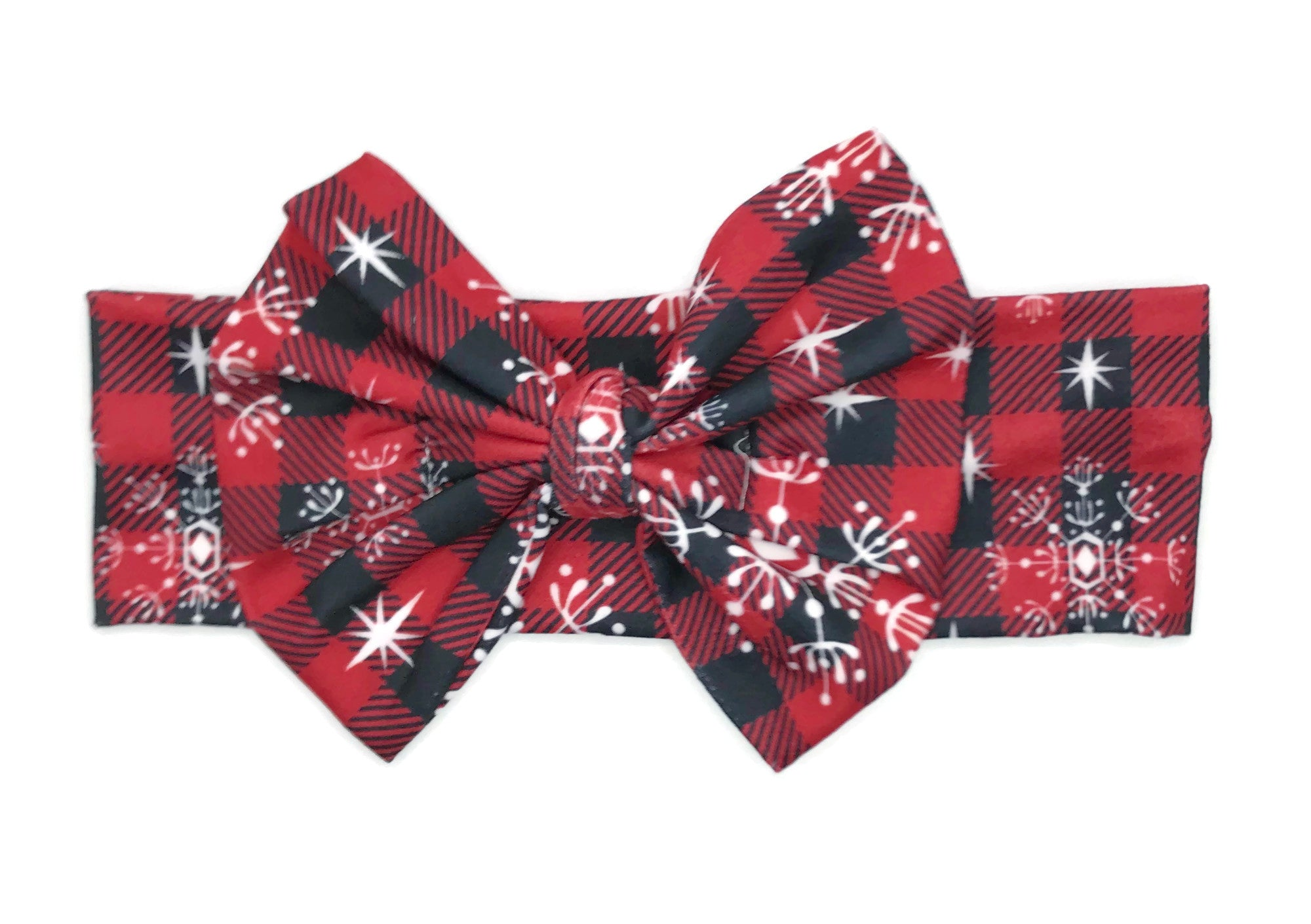 Buffalo Check Snowflake Milk Silk Headband Bow