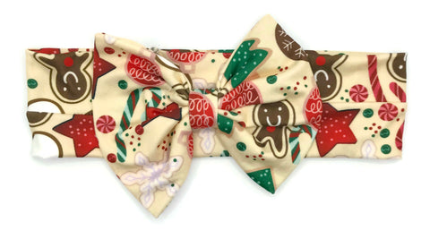 Festive Cookie Milk Silk Headband Bow