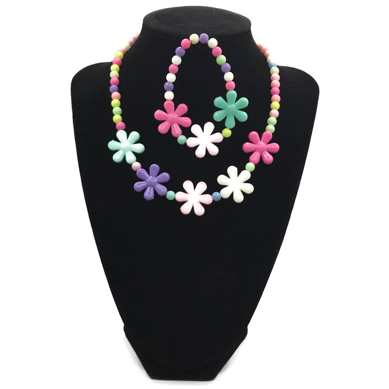 Multicolored Daisy Necklace with Bracelet Set