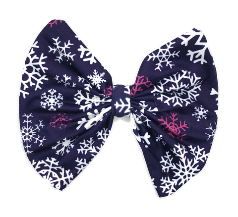 Purple Snowflake Hair Clip Bow