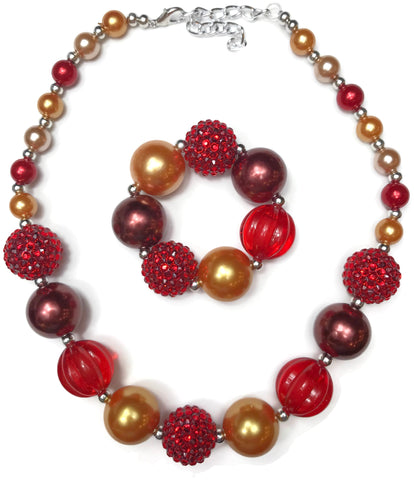 Red and Orange Fall Themed Necklace with Bracelet Set